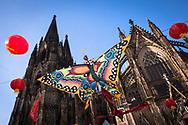 China festival on Roncalli square at the cathedral, butterfly as decoration, Cologne, Germany.<br /> <br /> Chinafest auf dem Roncalliplatz am Dom, Schmetterling als Dekoration, Koeln, Deutschland
