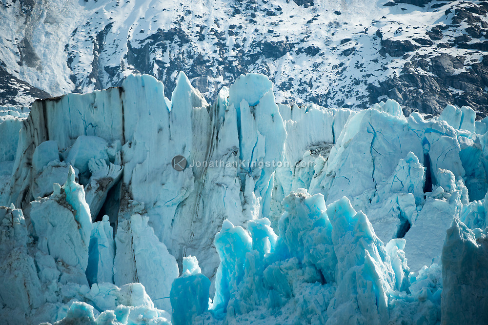Close up view of the face of the Dawes Glacier, Endicott Arm, Alaska.