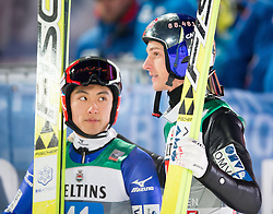 06.01.2015, Paul Ausserleitner Schanze, Bischofshofen, AUT, FIS Ski Sprung Weltcup, 63. Vierschanzentournee, Finale, im Bild Ilmir Hazetdinov (RUS), Gregor Schlierenzauer (AUT) // Ilmir Hazetdinov of Russia, Gregor Schlierenzauer of Austria reacts after his first Final Jump of 63rd Four Hills Tournament of FIS Ski Jumping World Cup at the Paul Ausserleitner Schanze, Bischofshofen, Austria on 2015/01/06. EXPA Pictures © 2015, PhotoCredit: EXPA/ Johann Groder