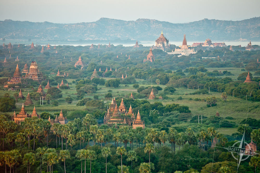 Aerial views of the temples and pagodas of Bagan, Myranmar.