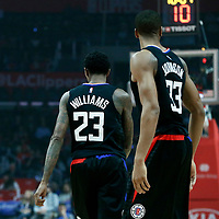 30 November 2017: LA Clippers guard Lou Williams (23) is seen next to LA Clippers forward Wesley Johnson (33) during the Utah Jazz 126-107 victory over the LA Clippers, at the Staples Center, Los Angeles, California, USA.