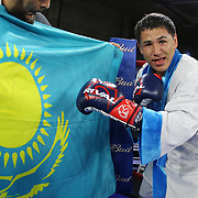 Zhankizh Turatov of Almaty, Kazakhstan smiles after he defeated Gustavo Garibay of Mexico during a Nelsons Promotions boxing match at the Boca Raton Resort  and Club on Friday, May 26, 2017 in Boca Raton, Florida.  (Alex Menendez via AP)