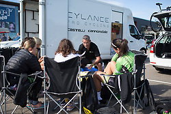 Cylance Pro Cycling DS Manuel Lacambra holds the pre-race meeting before the start of the 117,5 km third stage of the 2016 Ladies' Tour of Norway women's road cycling race on August 13, 2016 between Svinesund, Sweden and Halden, Norway. (Photo by Balint Hamvas/Velofocus)