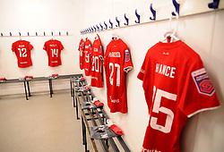Bristol City Women changing rooms prior to kick-off - Mandatory by-line: Nizaam Jones/JMP - 27/10/2019 - FOOTBALL - Stoke Gifford Stadium - Bristol, England - Bristol City Women v Tottenham Hotspur Women - Barclays FA Women's Super League