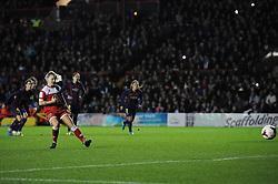 Bristol Academy Womens' Nikki Watts  scores a goal. - Photo mandatory by-line: Dougie Allward/JMP - Mobile: 07966 386802 - 13/11/2014 - SPORT - Football - Bristol - Ashton Gate - Bristol Academy Womens FC v FC Barcelona - Women's Champions League