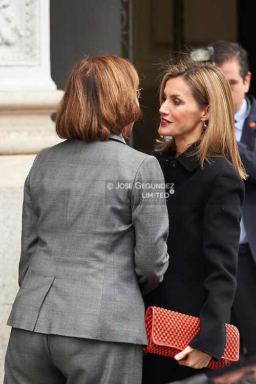 Queen Letizia of Spain attends the Celebration of the 10th anniversary of Fundeu (Fundacion Espanol Urgente) at BBVA Foundation on February 18, 2015 in Madrid