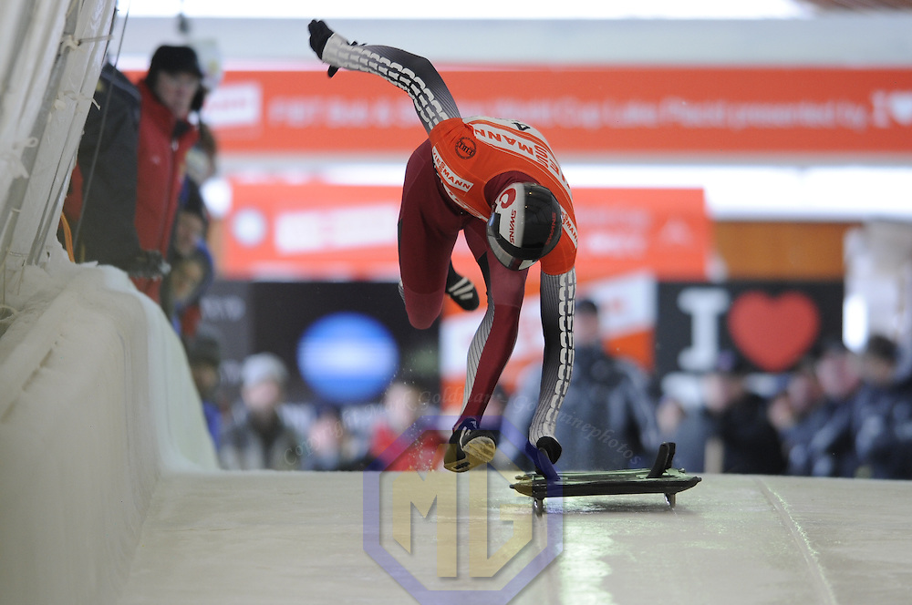 14 December 2007:  Martin Dukurs of Latvia competes at the FIBT World Cup Men's skeleton competition on December 14, 2007 at the Olympic Sports Complex in Lake Placid, NY.  Dukurs finished in fourth place in the the race won by Eric Bernotas of the United States.