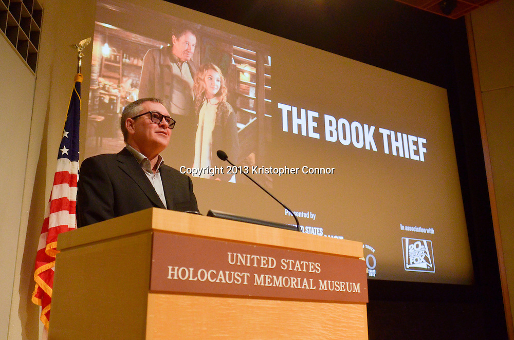 "WASHINGTON, DC - NOVEMBER 7: Director Brian Percival speaks during the premiere of ""The Book Thief,"" sponsored by the US Holocaust Museum at the United States Holocaust Memorial Museum on November 7, 2013 in Washington, DC. (Photo by Kris Connor/20th Century Fox)"