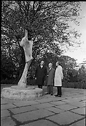 Unveiling of W.B. Yeats Memorial by An Taoiseach Jack Lynch at Stephen's Green, Dublin. The bronze sculpture is by Henry Moore. Admiring the sculpture are An Taoiseach Jack Lynch, Henry Moore and Michael Scott, architect and member of the W.B. Yeats Memorial Committee..26.10.1967