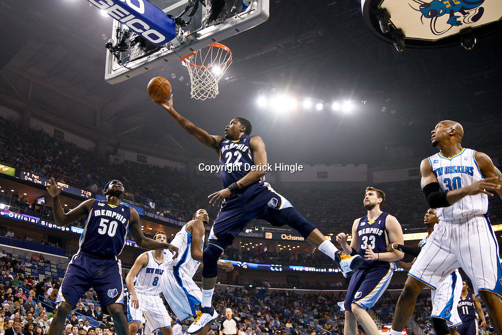 January 19, 2011; New Orleans, LA, USA; Memphis Grizzlies small forward Rudy Gay (22) shoots against the New Orleans Hornets during the first half at the New Orleans Arena.   Mandatory Credit: Derick E. Hingle