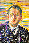 Detail of 'Self-portrait in the Clinic' 1909 oil painting on canvas by Edvard Munch 1863-1944, Kode 3 art gallery Bergen, Norway