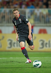 NOVI SAD, SERBIA - Tuesday, September 11, 2012: Wales' Simon Church in action against Serbia during the 2014 FIFA World Cup Brazil Qualifying Group A match at the Karadorde Stadium. (Pic by David Rawcliffe/Propaganda)