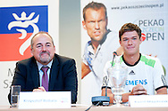 (L) Krzysztof Majchrzak and (R) Kamil Majchrzak during press conference before tennis tournament Pekao Szczecin Open 2013 in Pekao Bank in Warsaw..<br /> <br /> Poland, Warsaw, September 09, 2013<br /> <br /> Picture also available in RAW (NEF) or TIFF format on special request.<br /> <br /> For editorial use only. Any commercial or promotional use requires permission.<br /> <br /> Photo by © Adam Nurkiewicz / Mediasport