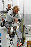 Mutua Madrileña sailor Pachi Rivero carries out some maintenance at the end of the prod during their stopover in Wellington. 4/1/2008