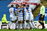 Goal - Sone Aluko (14) of Reading celebrates scores a goal to give a 1-0 lead to the home team during the EFL Sky Bet Championship match between Reading and Queens Park Rangers at the Madejski Stadium, Reading, England on 30 March 2018. Picture by Graham Hunt.