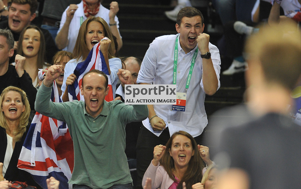 Kim Murray celebrates as Andy Murray wins the 4th rubber between Great Britain v Australia, Semi Finals,  Aegeon Davis Cup by BNP Paribas, Sunday 20 September 2015 (c) Angie Isac | SportPix.org.uk