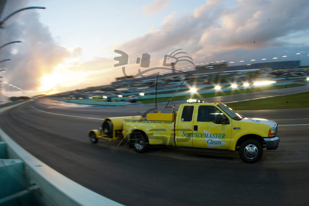 Homestead, FL - NOV 20, 2011:  The NASCAR Sprint Cup Series teams get a rain delay for the Ford 400 race at the Homestead-Miami Speedway in Homestead, FL.