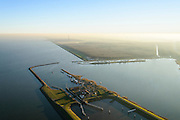 Nederland, Noord-Holland, Den Oever, 11-12-2013; Stevinsluizen, de schutsluis gezien richting IJsselmeer en Wieringermeer (Robbenbos). Begin Afsluitdijk<br /> Stevin Locks, near beginning of Enclosure Dam. IJsselmeer.<br /> luchtfoto (toeslag op standaard tarieven);<br /> aerial photo (additional fee required);<br /> copyright foto/photo Siebe Swart.