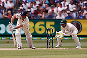 Alistair Cook plays a forward defensive shot during day three of the Australia v England fourth test at the Melbourne Cricket Ground, Melbourne, Australia on 28 December 2017. Photo by Mark  Witte.
