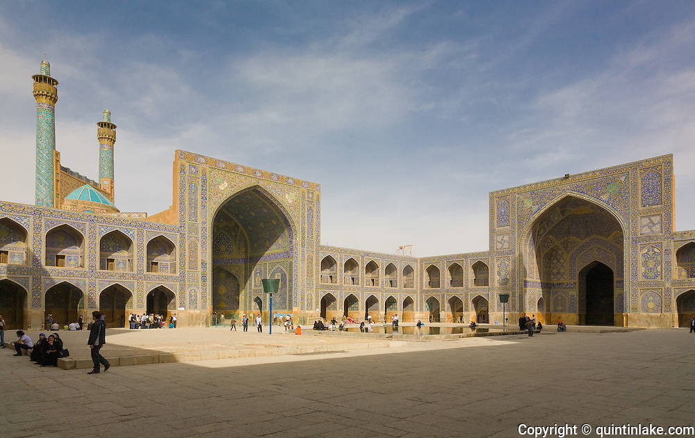 Courtyard of the Imam Mosque (Masjed-e Imam), is a mosque in Isfahan, Iran standing in south side of Naghsh-i Jahan Square. Built 1611 - 1629. Architect: Shaykh Bahai