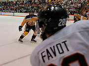 2011/03/12 - Mike Little of American International College defends against RIT's Andrew Favot in game 2 of the Atlantic Hockey quarterfinals hosted by RIT's Ritter Arena. RIT defeated AIC 5-1.