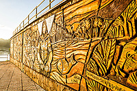 Mural na Praça do Porto. Mondaí, Santa Catarina, Brasil. / <br /> Wall sculpture at Port Square. Mondaí, Santa Catarina, Brazil.