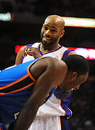 Feb. 4, 2011; Phoenix, AZ, USA; Phoenix Suns guard Vince Carter (25) reacts on the court with the Oklahoma City Thunder forward Jeff Green (22) at the US Airways Center. The Thunder defeated the Suns 111-107. Mandatory Credit: Jennifer Stewart-US PRESSWIRE