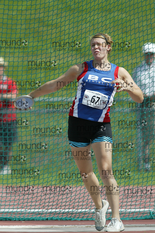 (Sherbrooke, Quebec -- 8 Aug 2009)  Jade Richardson of British Columbia competes in girls under-17 (youth) discus final at the 2009 Royal Canadian Legion National Youth track and field championships. Photograph copyright Sean Burges / Mundo Sport Images  2009.