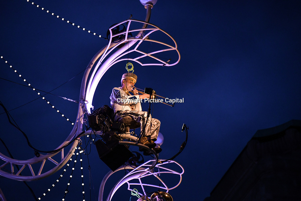 Cristal Palace (Transe Express) a giant chandelier comprised of 1500 light bulbs, weighing 3.5 tons and suspended 40m above the ground with seven live musicians - the Cristal Palace Chandelier at GDIF2019, on 21 June 2019, General Gordon Square, London, UK