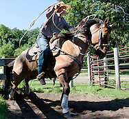 Jordan Staton kicks his horse into gear while practicing on Wednesday, July 9, 2014, at a farm near Kindred, N.D. Staton and four others are currently preparring for the national rodeo finals in Wyoming next week.<br /> Nick Wagner / The Forum