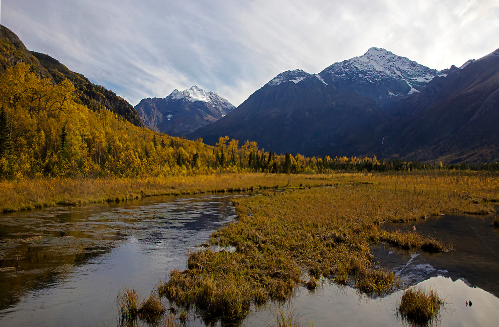 Alaska, Scenic view of fall color in the Eagle River Valley looking east, Chugach State Park.