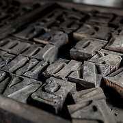 A box of old letterpress letters.