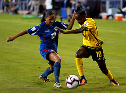 October 12, 2018 - Edinburgh, Scotland, United Kingdom - Edinburg, NC - OCTOBER 11: 2018.L-R Zallin Rodriguez of Cuba tussle with Jody Brown of Jamaica during CONCACAF Women's Championship Group B match between Cuba against Jamaica at H-E-BPark Stadium, Edinburg,  on October 11, 2018  (Credit Image: © Action Foto Sport/NurPhoto via ZUMA Press)