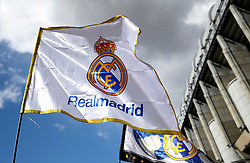 A general view of Real Madrid flags on display outside the stadium grounds