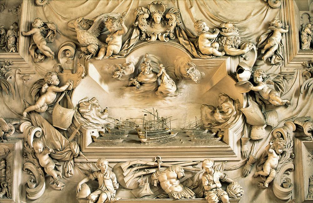 Detail in the Oratorio del Rosario di Santa Zita, Palermo, Sicily, Italy. Stucco of Battle of Lepanto by Giacomo Serpotta