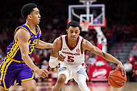 FAYETTEVILLE, AR - JANUARY 12:  Jalen Harris #5 of the Arkansas Razorbacks drives against Tremont Waters #3 of the LSU Tigers at Bud Walton Arena on January 12, 2019 in Fayetteville, Arkansas.  The Tigers defeated the Razorbacks 94-88.  (Photo by Wesley Hitt/Getty Images) *** Local Caption *** Jalen Harris; Tremont Waters