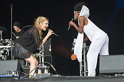 © Licensed to London News Pictures . 08/06/2014 . Heaton Park , Manchester , UK . CLEAN BANDIT on the Main Stage . The Parklife music festival in Heaton Park Manchester as the sun comes out . Photo credit : Joel Goodman/LNP