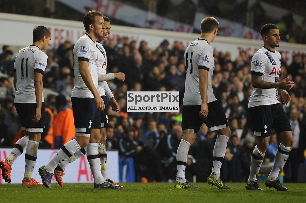 Tottenhams Dele Alli celebrates scoring Tottenhams second goal with his teammates during the Tottenham v Aston Villa match in the Barclays Premier League on the 2nd November 2015