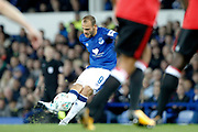 Everton striker Sandro Ramirez (9) bends in the free kick during the EFL Cup match between Everton and Sunderland at Goodison Park, Liverpool, England on 19 September 2017. Photo by Craig Galloway.