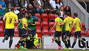 Oxford midfielder Kemar Roofe celebrates after opening the scoring during the Sky Bet League 2 match between Leyton Orient and Oxford United at the Matchroom Stadium, London, England on 17 October 2015. Photo by Bennett Dean.