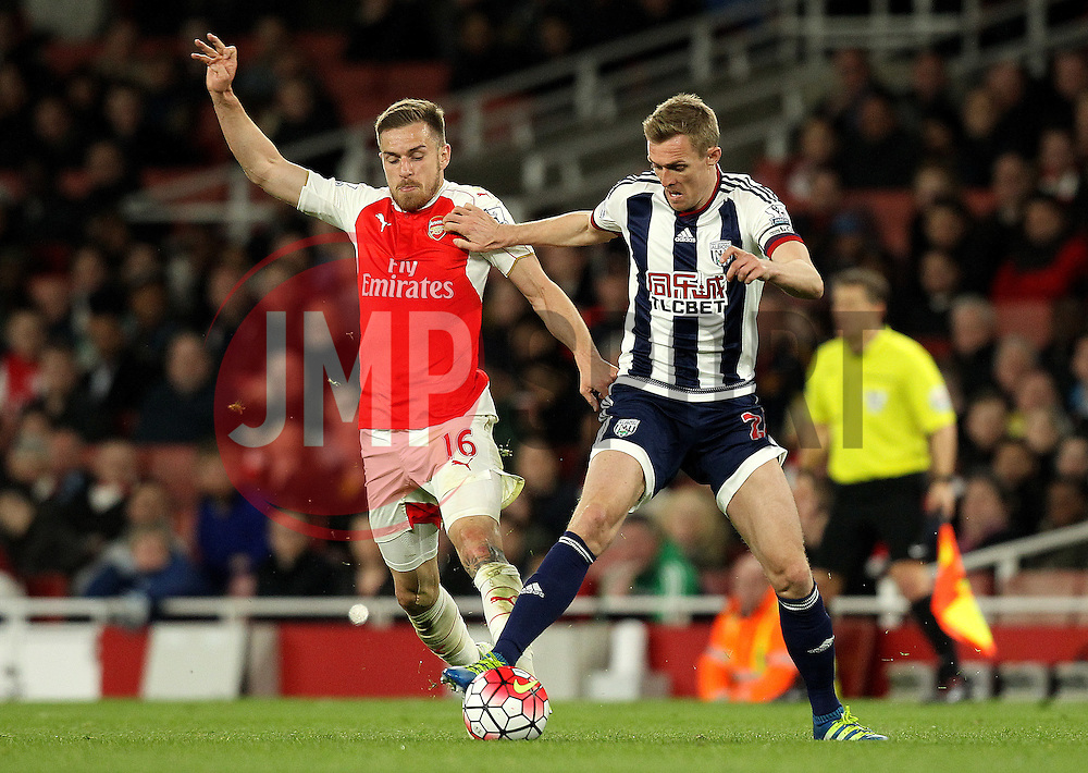 Aaron Ramsey of Arsenal tries to tackle Darren Fletcher of West Bromwich Albion - Mandatory by-line: Robbie Stephenson/JMP - 21/04/2016 - FOOTBALL - Emirates Stadium - London, England - Arsenal v West Bromwich Albion - Barclays Premier League