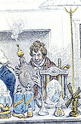Humphry Davy (1778-1829) English chemist. Detail from Gilray cartoon 'New Discoveries in Pneumatics' showing a meeting of the Royal Institution, London.