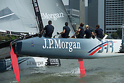 JP Morgan sponsored BAR team helmed by Ben Ainslie in practice races for the first of the Extreme Sailing Series regattas being sailed in Singapore. 19/2/2014