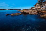 The Island at Balmoral Beach, Sydney, Australia at dusk looking towards Sydney Heads