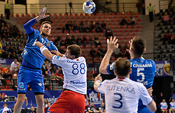 Borut Mackovsek of Celje PL during handball match between Meshkov Brest and RK Celje Pivovarna Lasko in bronze medal match of SEHA- Gazprom League Final 4, on April 15, 2018 in Skopje, Macedonia. Photo by  Sportida