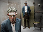 Vintage Mugshots in colour<br /> <br /> Mug shot of Walter Smith, 15 December 1924, location unknown.<br /> <br /> Special Photograph no. 1357. Walter Smith is listed in the NSW Police Gazette, 24 December 1924, as 'charged with breaking and entering the dwelling-house of Edward Mulligan and stealing blinds &amp;c value 20 pounds (part recovered)', and with 'stealing clothing, value 26 pounds (recovered) in the dwelling house of Ernest Leslie Mortimer.' Sentenced to 6 months hard labour. This picture is one of a series of around 2500 &quot;special photographs&quot; taken by New South Wales Police Department photographers between 1910 and 1930. These &quot;special photographs&quot; were mostly taken in the cells at the Central Police Station, Sydney and are, as curator Peter Doyle explains, of &quot;men and women recently plucked from the street, often still animated by the dramas surrounding their apprehension&quot;. Doyle suggests that, compared with the subjects of prison mug shots, &quot;the subjects of the Special Photographs seem to have been allowed - perhaps invited - to position and compose themselves for the camera as they liked. Their photographic identity thus seems constructed out of a potent alchemy of inborn disposition, personal history, learned habits and idiosyncrasies, chosen personal style (haircut, clothing, accessories) and physical characteristics.&quot; <br /> &copy;Fr&eacute;d&eacute;ric DurIiez/Exclusivepix Media
