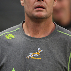 DURBAN, SOUTH AFRICA - JUNE 08, Rassie Erasmus during the South African national rugby team Captains Run at Mr Price Kings Park on June 08, 2012 in Durban, South Africa<br /> Photo by Steve Haag / Gallo Images