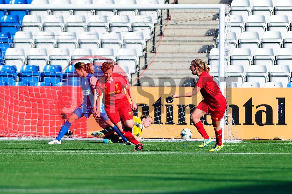 Liverpool Ladies' Katrin Omarsdottir celebrates his goal. - Photo mandatory by-line: Dougie Allward/JMP - Tel: Mobile: 07966 386802 29/09/2013 - SPORT - FOOTBALL - Halton Stadium - Widness - Liverpool Ladies V Bristol Academy WFC - Womens Super League - Title Decider
