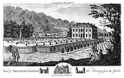 Ferney near Geneva, Switzerland, 1786. The chateau where Francois Marie Arouet de Voltaire (1694-1778), French writer and pholosopher, embodiment of the Enlightenment, settled after 1758, viewed from the garden.  From 'The European Magazine', (London, 1786).  Engraving.