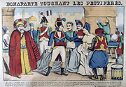 Napoleon I in the Pesthouse at Jaffa touching plague victims, 11 March 1799.. Propaganda story putting him on the same plane as annointed kings who could effect miraculous cures through  divine intervention. 19th century French popular hand-coloured woodcut.